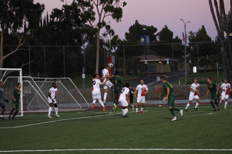 Biola mens soccer team plays defense during their game against Cal Poly Panoma on September 11, 2021.