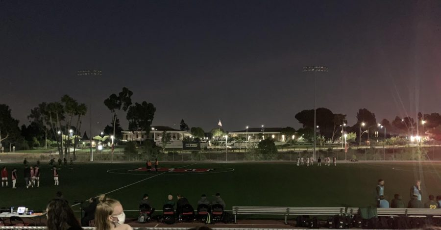 The power outage delayed the start of men's soccer on Sept. 25.